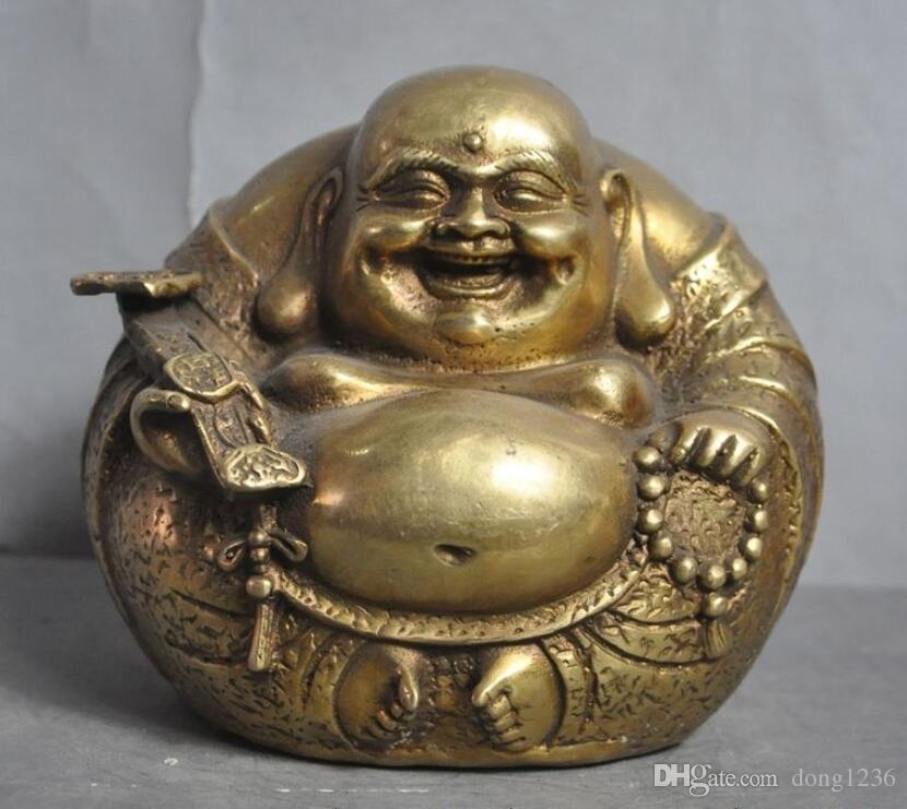 중국 불교 사원 황동 부 Ruyi 행복 웃음 Maitreya 불상