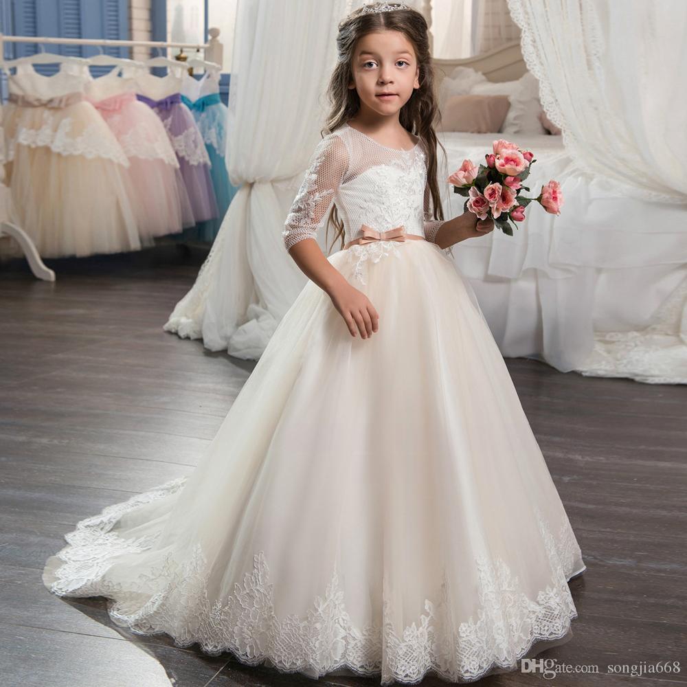 2020 Bella pizzo Champagne Flower Girl Dress con treno pizzo maniche bambini corsetto di sfera del vestito promenade dell'abito per le ragazze Size 8 12