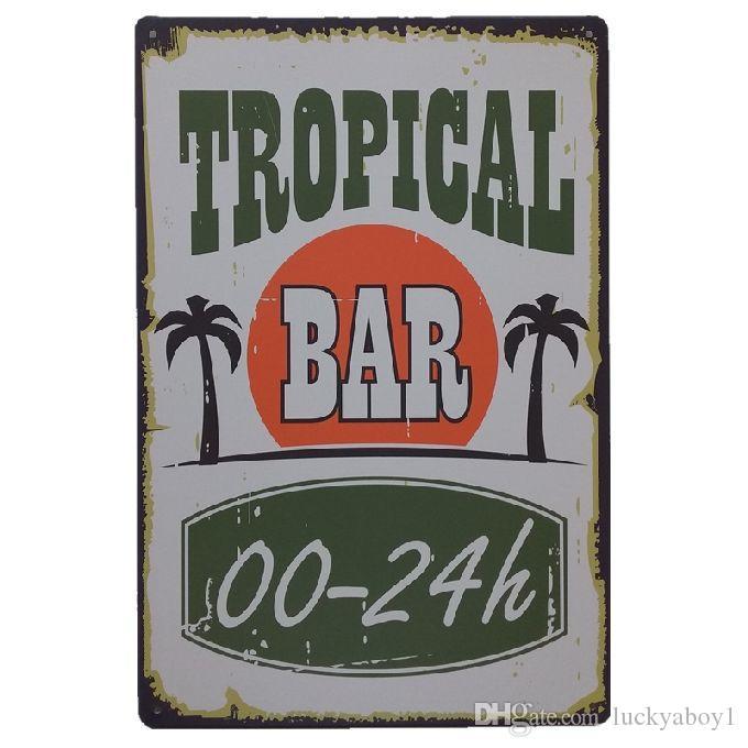 Tropical Bar Retro rustic tin metal sign Wall Decor Vintage Tin Poster Cafe Shop Bar home decor