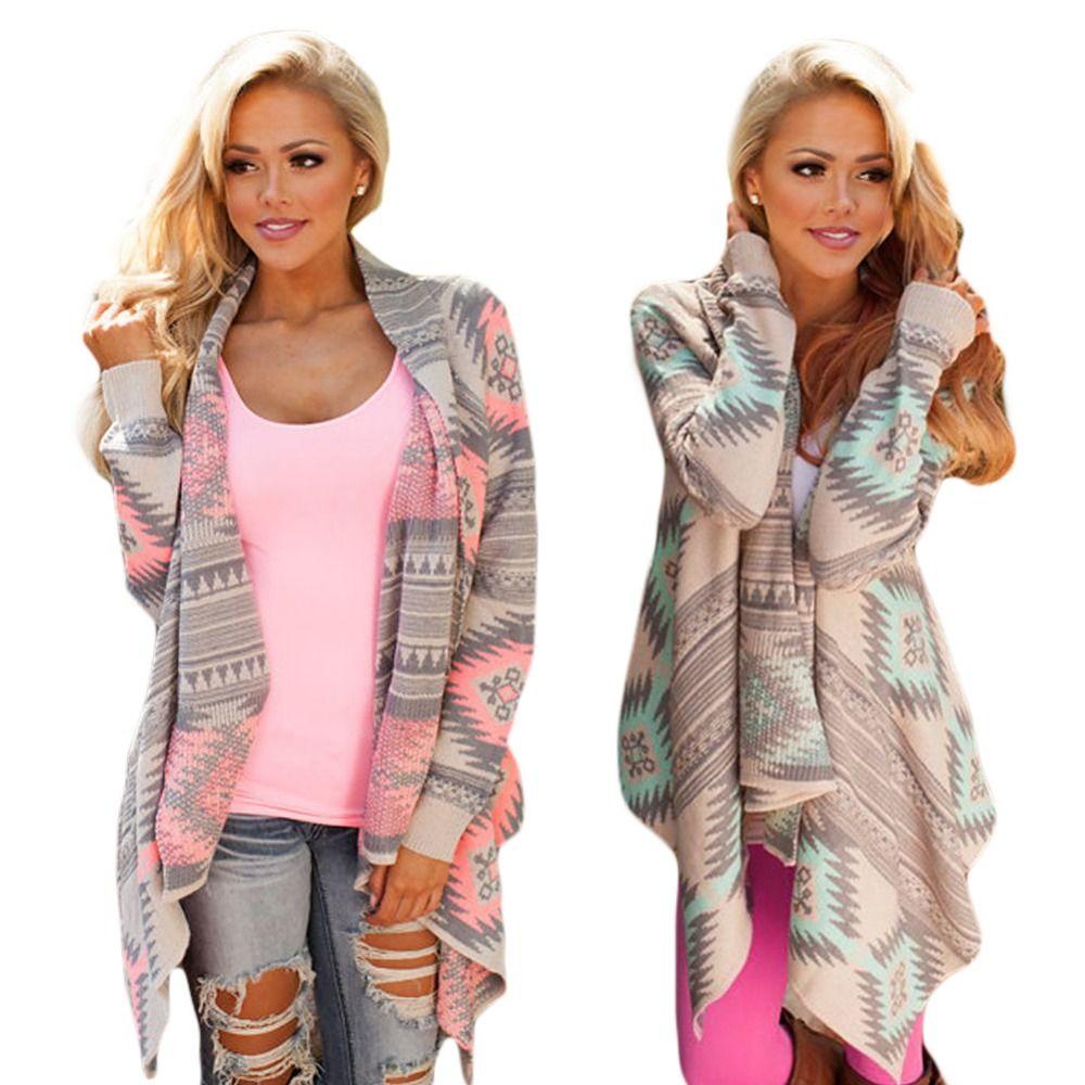 Atacado-mulheres casacos básicos 2016 nova moda irregular de manga comprida cardigan camisola sexy Mulheres de impressão de inverno rosa outono mulheres jaqueta
