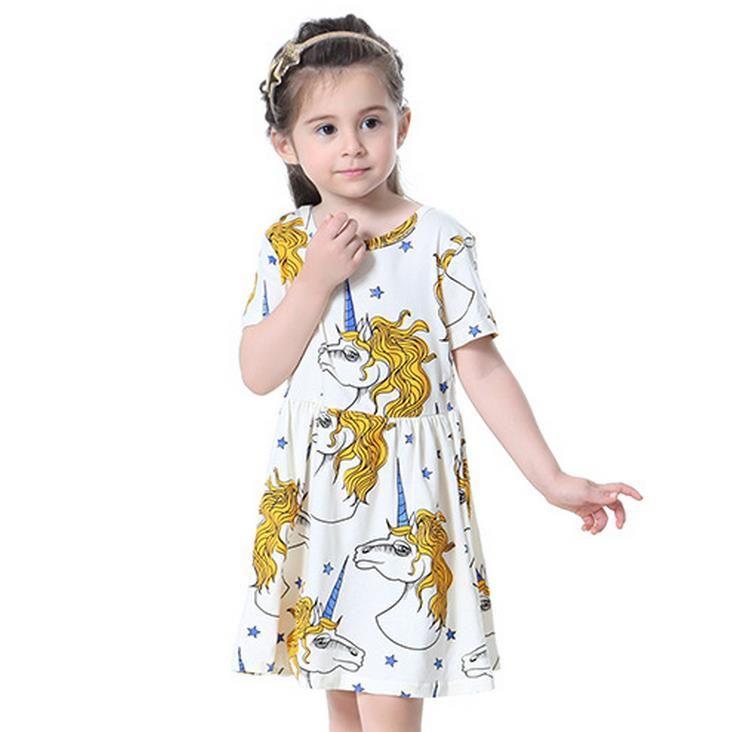 2017 طفل الفتيات القطن اللباس المطبوعة يونيكورن نجوم الأميرة فساتين الصيف قصيرة الأكمام تنورة لطيف الاطفال الملابس أجمعين مجانية