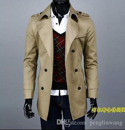 Mode automne mince hommes vêtements adolescente à double boutonnage trench coat hommes survêtement hommes trench-coat, plus la taille 9XL