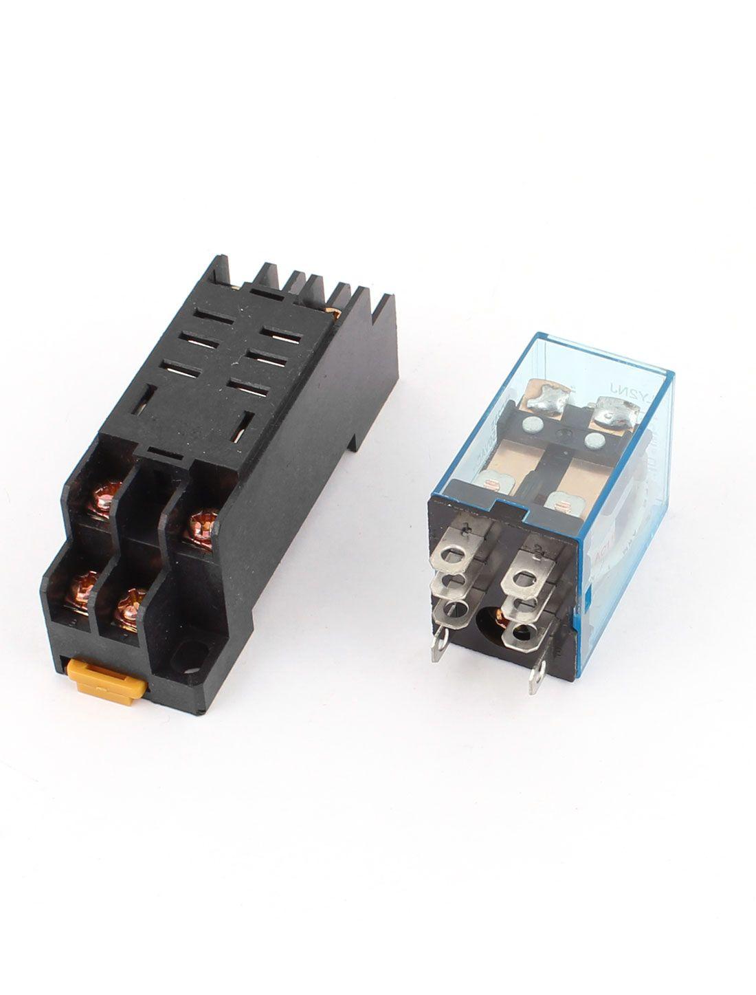 12V DC Coil Power Relay DPDT LY2NJ HH62P-L JQX-13F NEW With PTF08A Socket Base