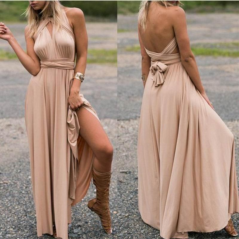 Vestido de verano de mujer vestido de noche largo formal Vestido de noche de múltiples cuerdas Vestido de cóctel sin espalda cruzada Vestido de noche de falda sexy V falda sin mangas