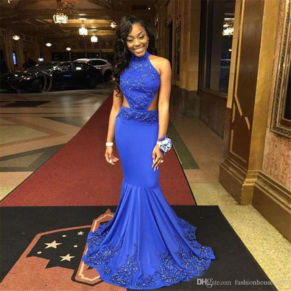 Sexy Long Royal Blue Prom Dresses Mermaid African Black Girl Prom Party Dress Beads Chiffon Sexy Backless Formal Evening Gowns