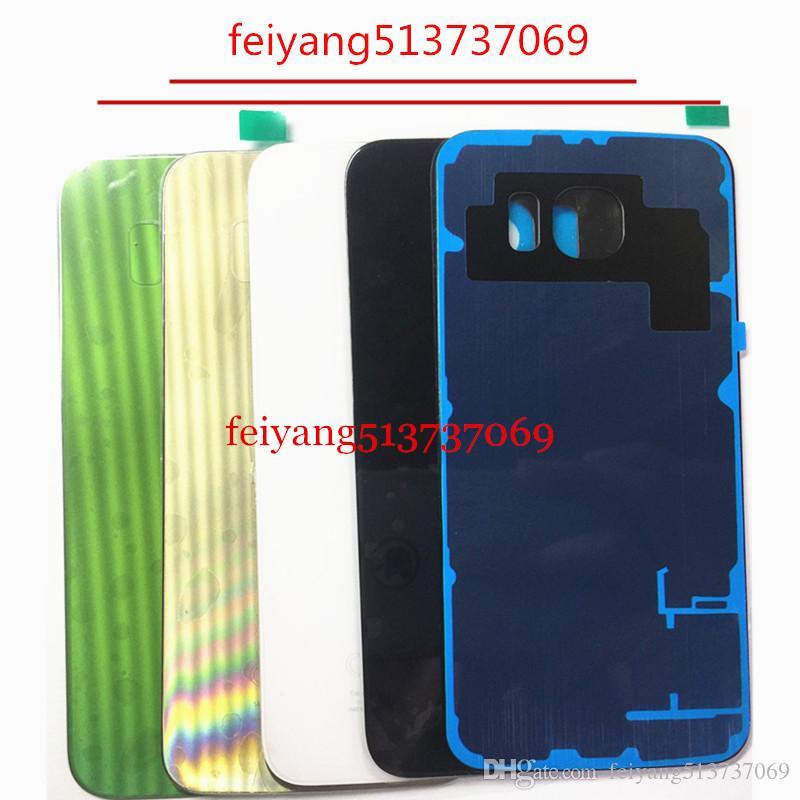 10 adet OEM Bir kalite arka kapak cam Pil Kapı Konut + Yapıştırıcı Sticker Samsung Galaxy S6 G920 S6 kenar g925 kenar artı g928