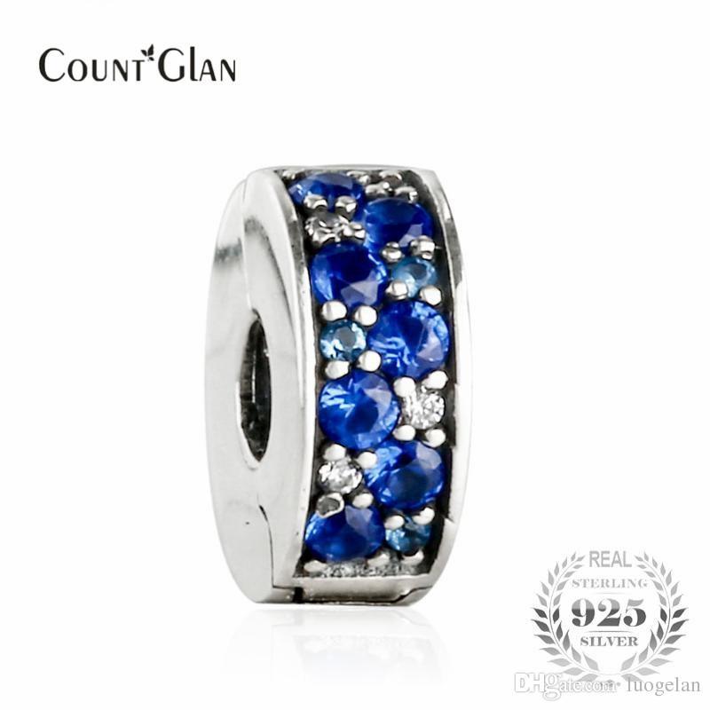 2017 Summer Blue Mosaic Shining Elegance Spacer Clip Beads Fit Pandora Snake Charm Bracelets Silver 925 Original Silicone Bead
