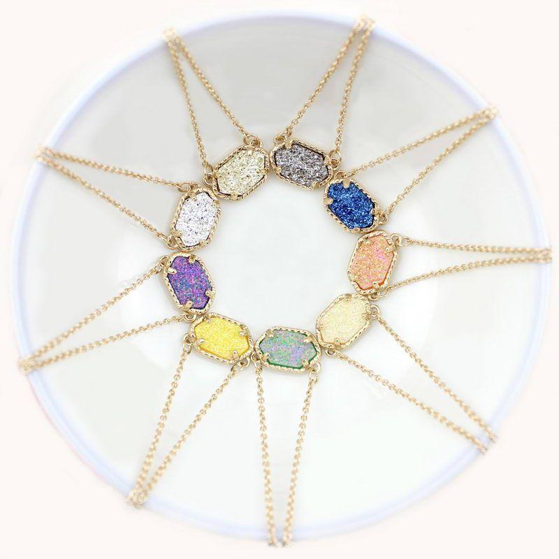 Mode Silber Gold Plating Kendra Druzy Drusy Halskette Bright Ohrringe Silber Vergoldet Geometry Steinharz Halsketten Weihnachtsgeschenk