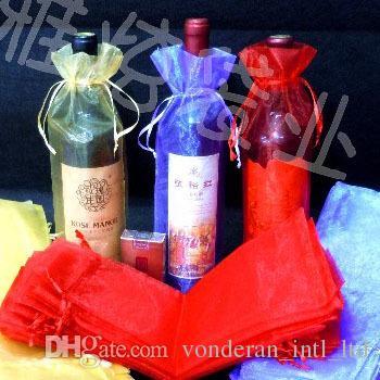 bottiglia singola tasca borsa pacco parrucche champagne organza con coulisse regalo Sacchetti 15cmx36cm (6