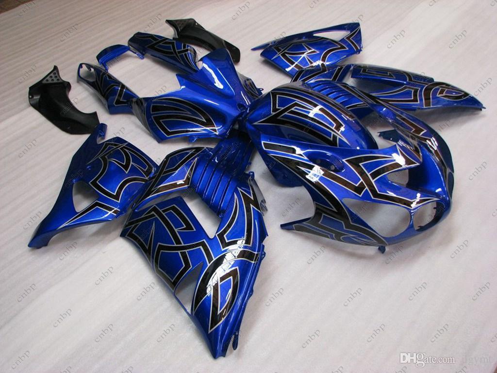 Пластиковые обтекатели ZZR 1400 2011 кузов ZZ-R1400 2008 синий черный ABS обтекатель для Kawasaki Zx14r 06 07 2006 - 2011
