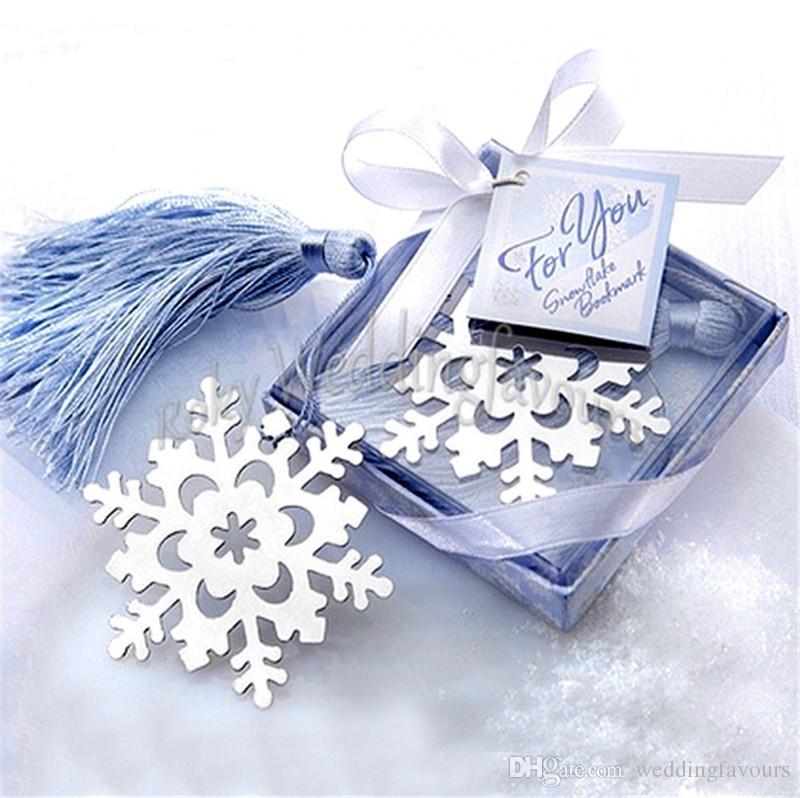 Свободная пересылка 50pcs / lot! Снежинка закладка с BlueTassel Weddiing выступает свадебный душ украшение партии зима Themer партия выступает