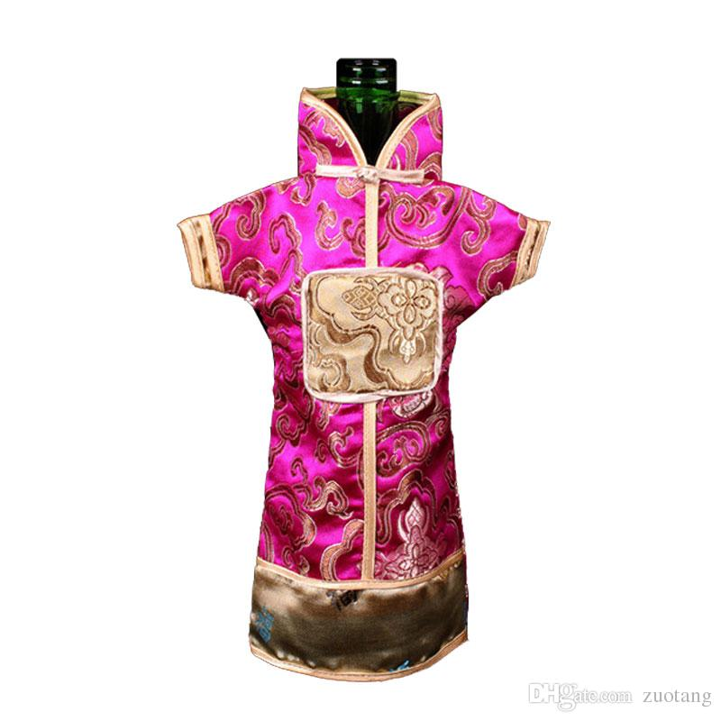 Unusually Vintage Chinese style Wine Bottle Cover Bag Floral Silk brocade Wedding Decor Bottle Clothes Packaging Pouch 10pcs/lot