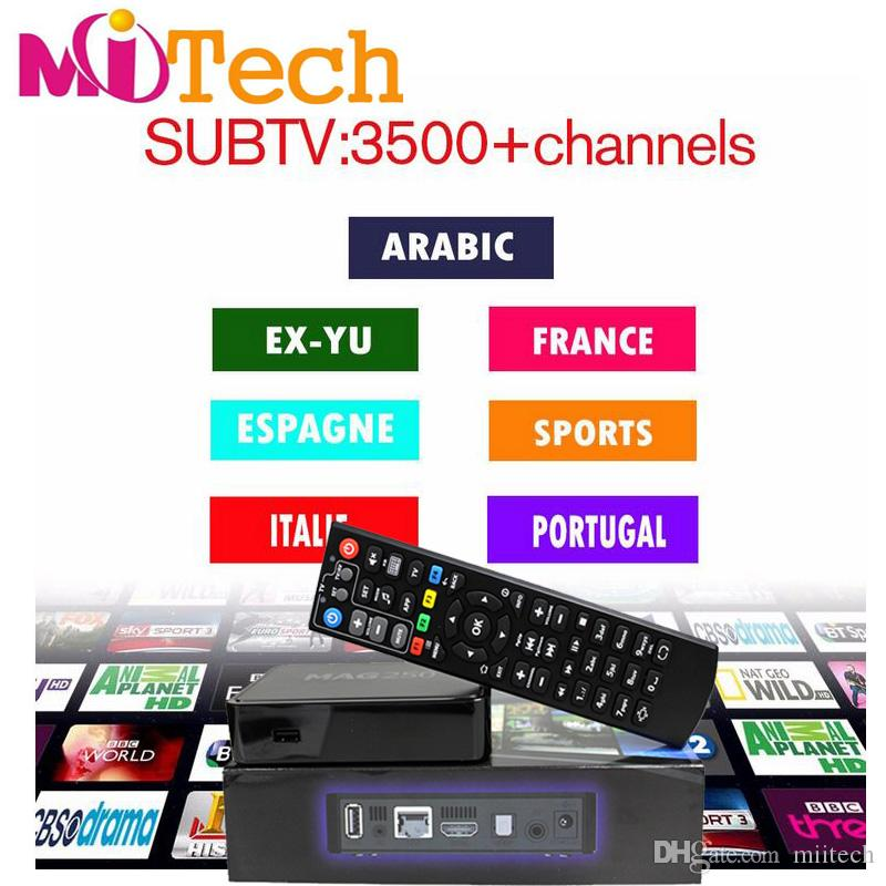 MAG250 iptv box with 3400 IPTV channels includes Canada EX-YU Croatia Solvenia Albania UK USA German Russian,mag 250 254 set top box