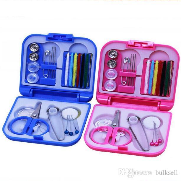 Complete Sewing Thread Needle Scissor Thimble Mini Plastic Storage Case Sewing Kit Tool