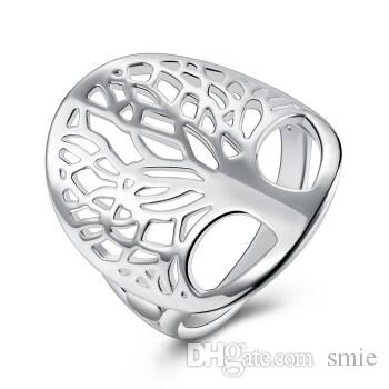 925 Silver Plated Big Hollow Web Ring Thumb Ring Women  Fashion Jewelry