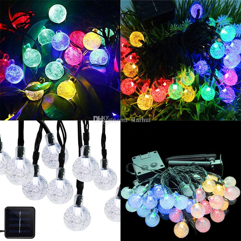 Solar Christmas Decorations.2019 Newest Led Crystal Ball Solar Powered Light Halloween Christmas Decorations 30 Lights Home Outdoor Garden Patio Party Supplies Wx9 35 From