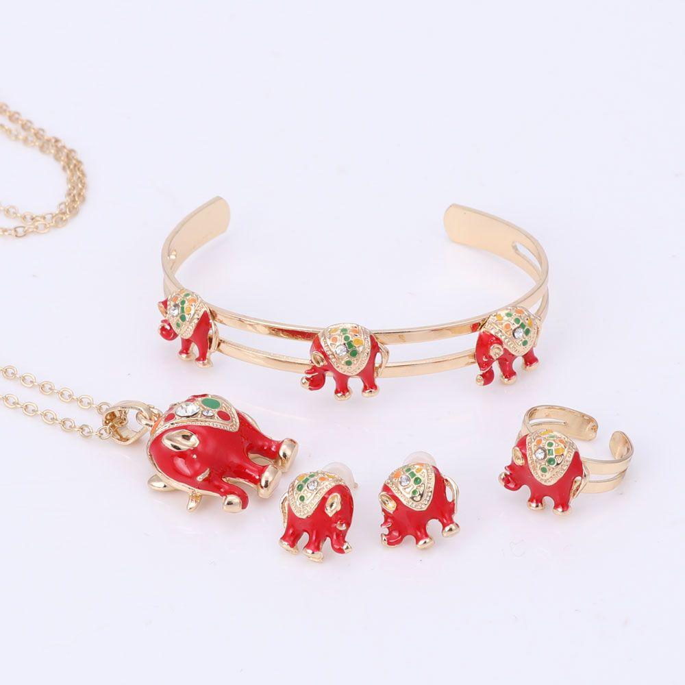Gold Plated Enamel Crystal Elephant Necklace Bangle Bracelet Ring Set For Children Kids Costume Jewelry Sets