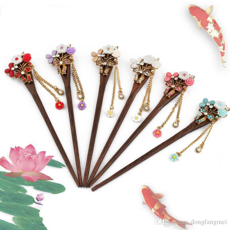 Retro fashion hair hair ornaments classic hairpin women step shake tassel chicken wing wood hairpin FZ024 mix order 20 pieces a lot