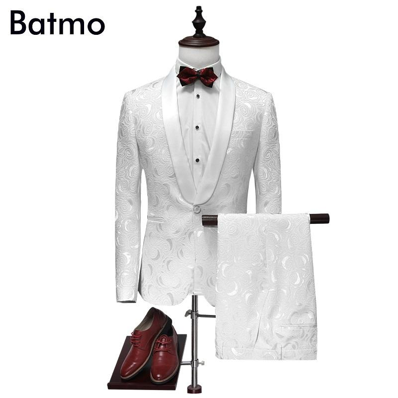 Wholesale- 2017 new arrival jacquard white wedding suits men,high quality cotton printed suits men,size M,L,XL,XXL,XXXL,XXXXL jacket+pants