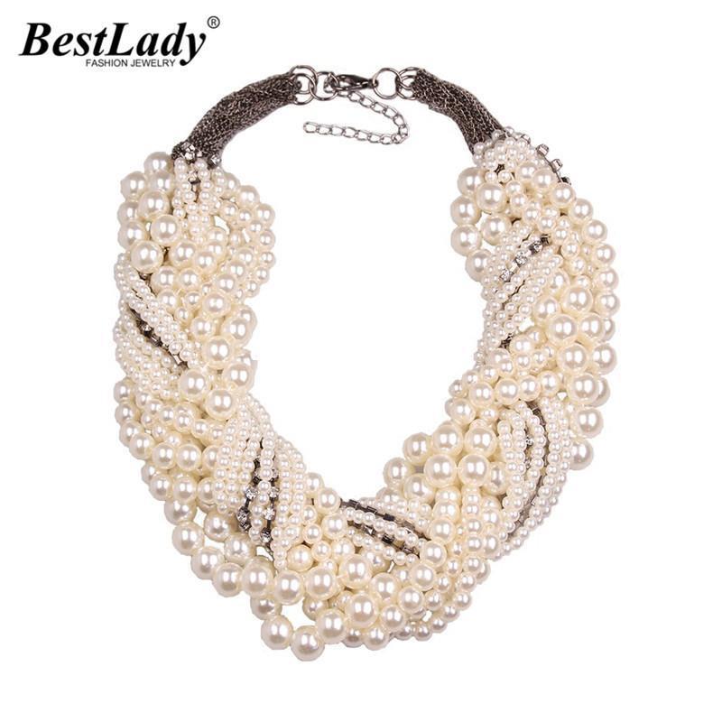 Mejor la nueva señora de la manera Z babero del collar colgante de lujo Gargantilla perla simulada collar de la declaración Jewelry9955