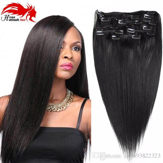 Hannah produit Brésilien Clip Dans Les Extensions de Cheveux 7/10 pcs / ensemble Pleine Tête Naturel Brun Droite Clip dans les Cheveux Humains Extension Cheveux Brésiliens