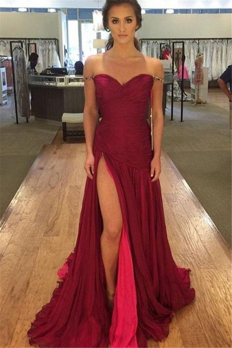 Abiti Da Cerimonia Foto.Abiti Da Cerimonia Da Sera 2017 Sexy High Split Burgundy Prom