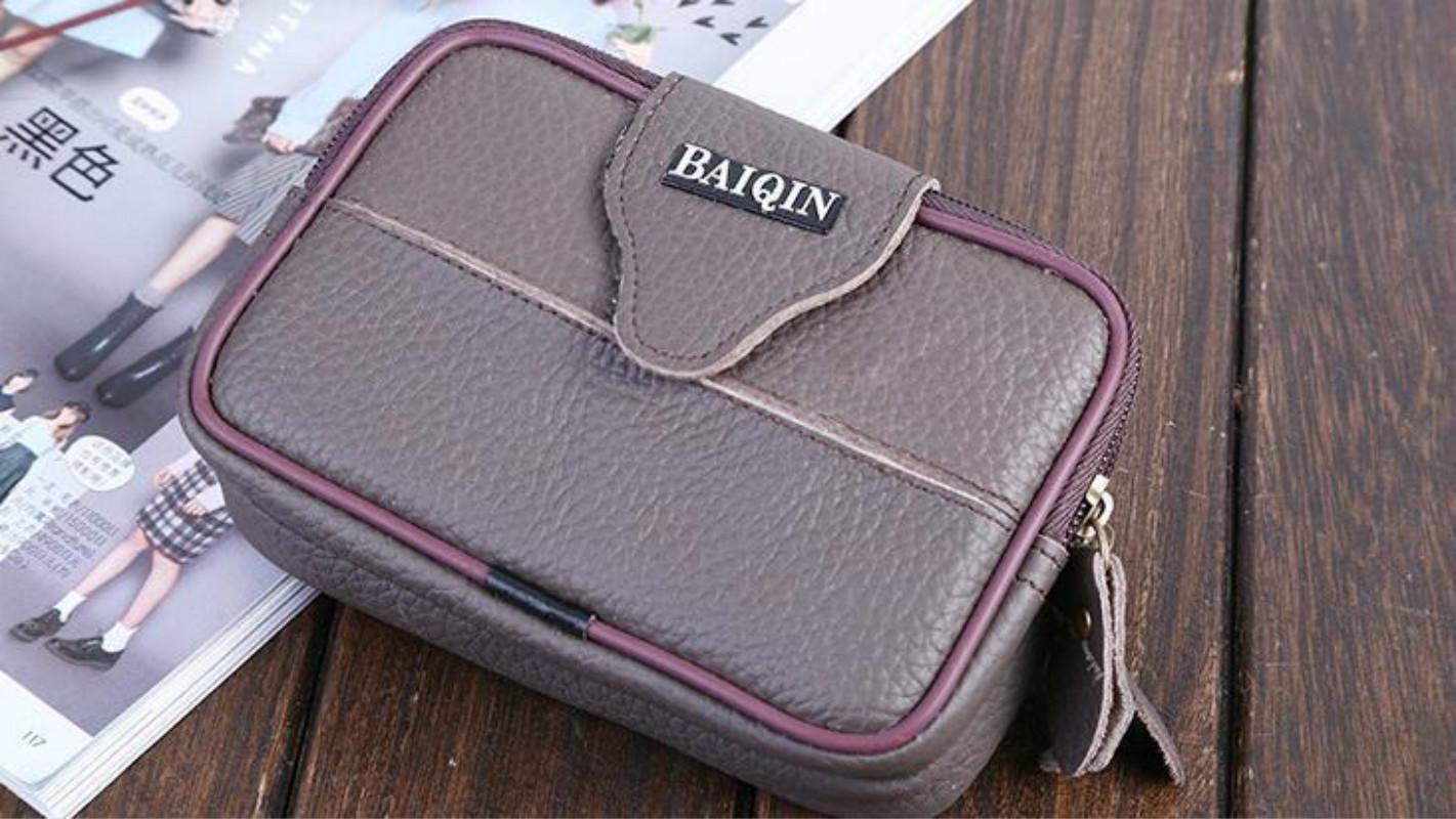 Новый мужской модный кожаный кожаный кошелек кошелек бизнес крест универсальный ремень висит сумка