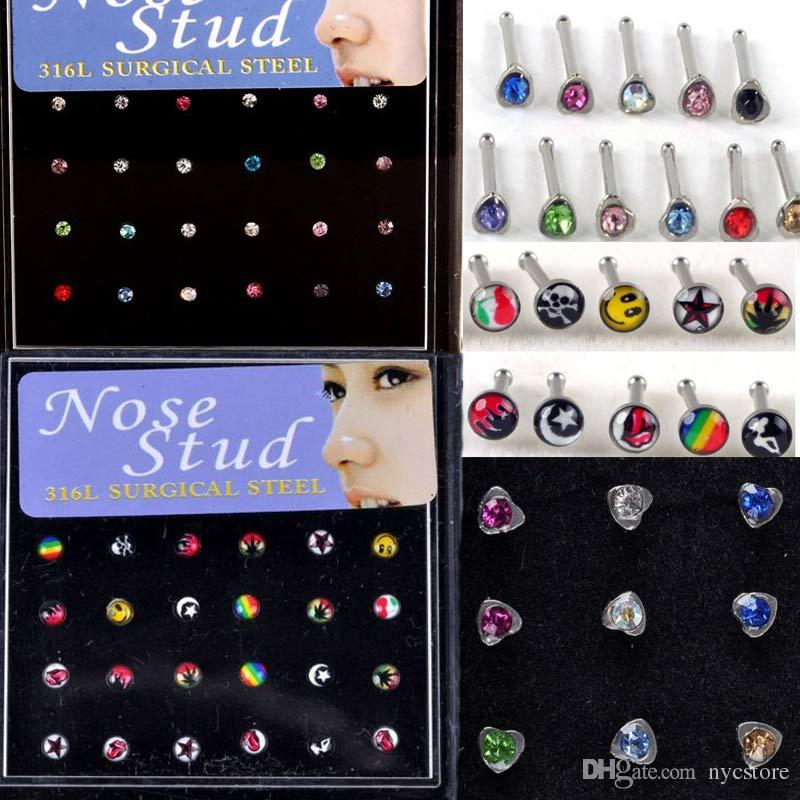 144 Pcs/lot 316L Stainless Steel Womens Body Jewelry Nose Studs Nose Ring Body Piercing
