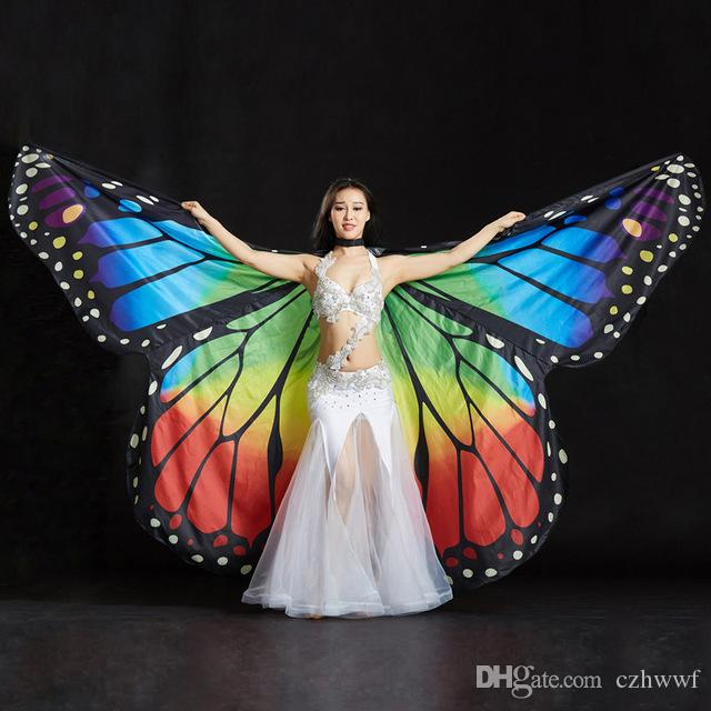 2019 Performance Frauen Dancewear Requisiten Polyester Kap Umhang Tanz Fee Flügel Schmetterlingsflügel für Bauchtanz (mit sticks)
