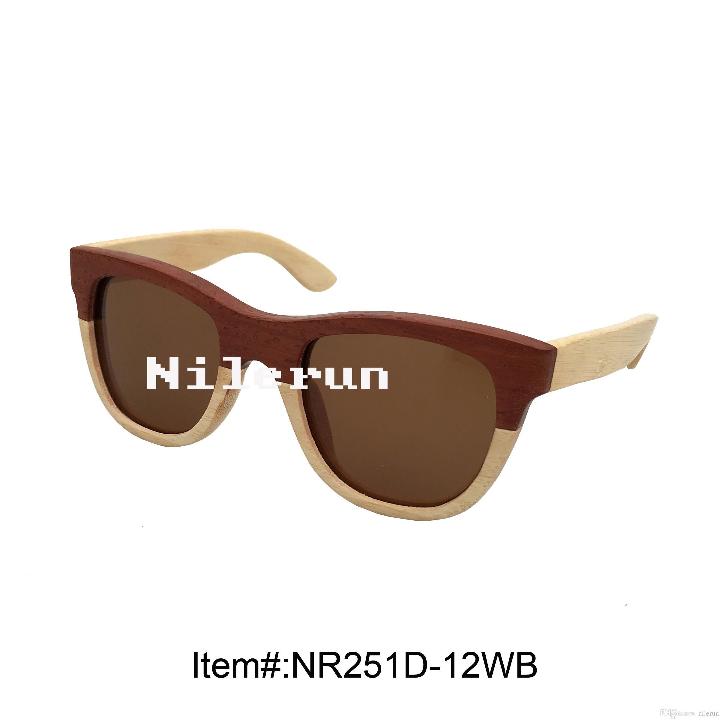 occhiali da sole combinati in legno bicolore