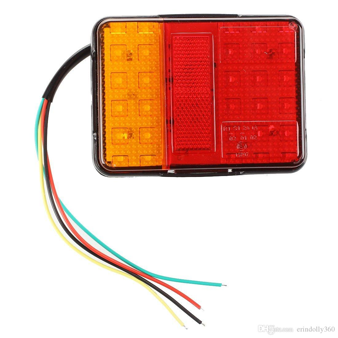 2x 30 LED Impermeabile 2W Tail Rear Light Lampada rossa / gialla per barca per rimorchio