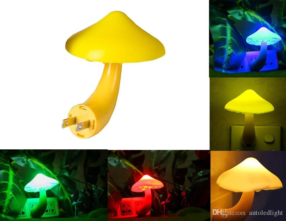 Mini Pretty Magic Mushroom-Shaped Energy Saving Sensor LED Romantic Night Light with Plug Yellow with sensor led