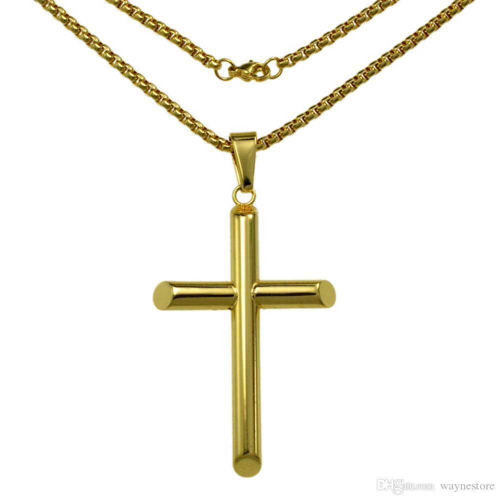 n321 - дамы подарки из нержавеющей стали золотой крест кулон ожерелье бусины цепи