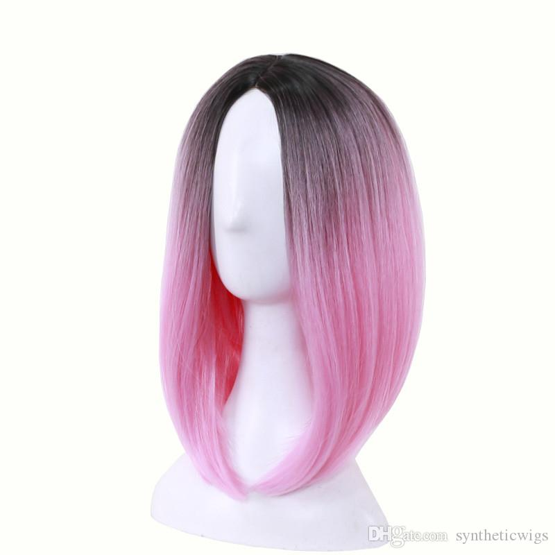 WoodFestival medium length straight hair wig heat resistant bob wigs lolita cosplay women synthetic wigs ombre black green gray pink purple