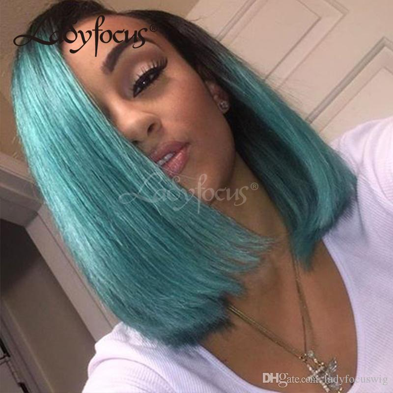 Lady Focus Green Full Lace Human Hair Wigs
