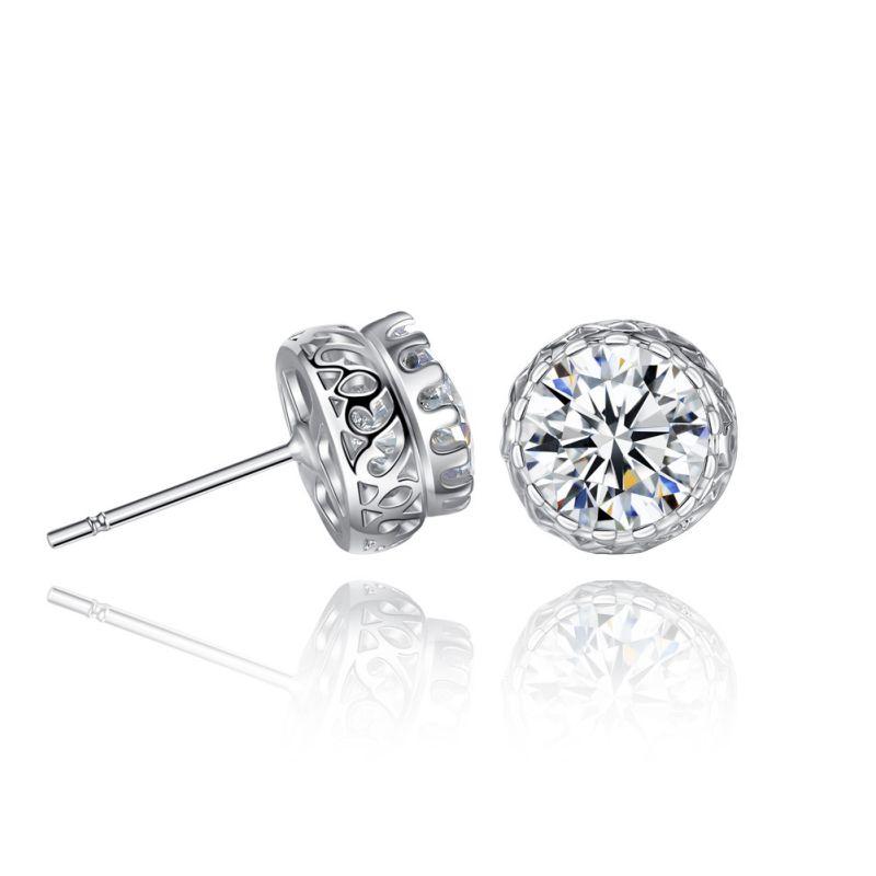 Gold Plated Earring Women Girl Flower Stud Earrings White Wedding Promise Gift Cubic Zirconia