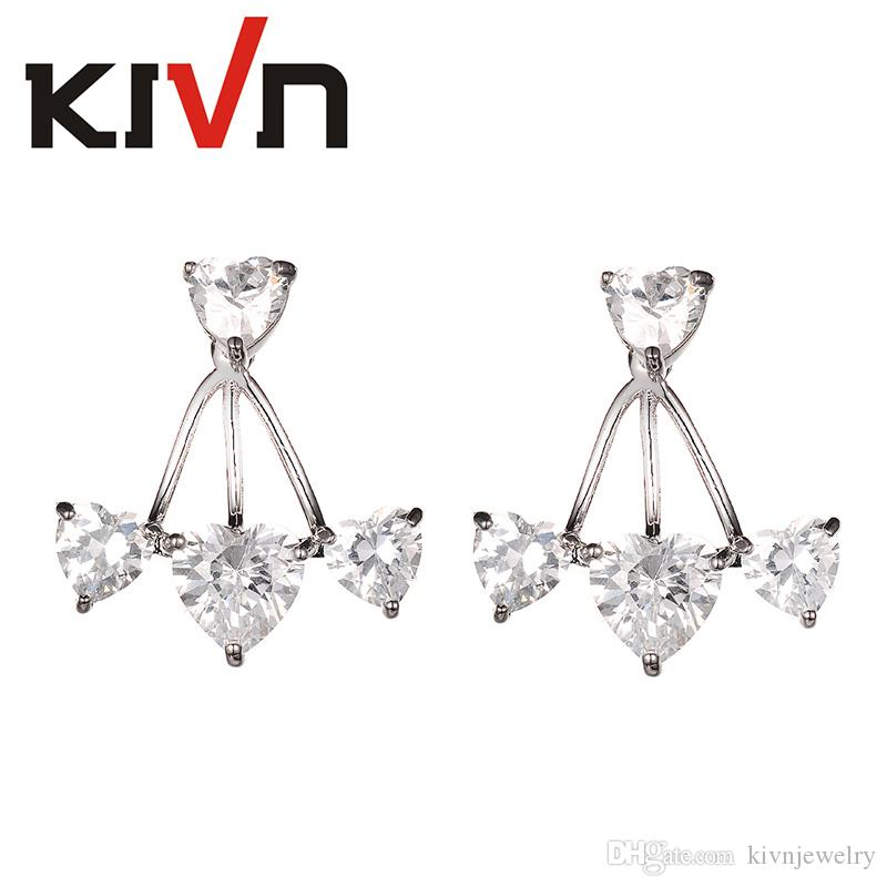 KIVN Fashion Jewelry Heart CZ Cubic Zirconia Women Girls Bridal Wedding Earring Ear Jackets Christmas Birthday Mothers Day Gifts