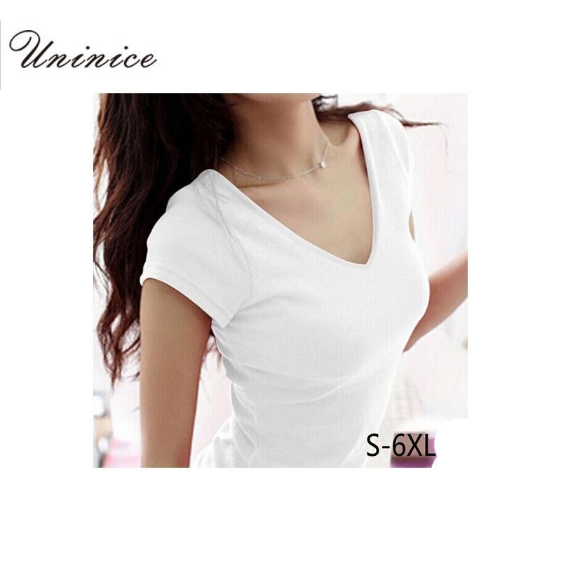 Taille-Plus gros 5XL 6XL Femme d'été manches courtes de style T-shirts pour les femmes rondes V-Neck T Shirt Femme Femme Vêtements Hauts Recadrer Mode