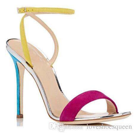 2017 Colores Mezclados Hebilla Sandalias de Gladiador Con Tirantes Zapatos de Verano de Las Mujeres Tacones de aguja Tacones Altos Bombas de Boda zapatos