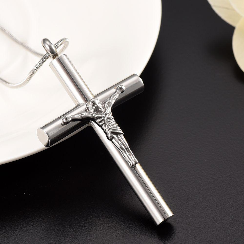 Gran Jesu Cruz Cremación Urna Colgante Collar, 2 Colores Memorial Ash Keepsake Funeral Urn Cofia Accesorios de moda