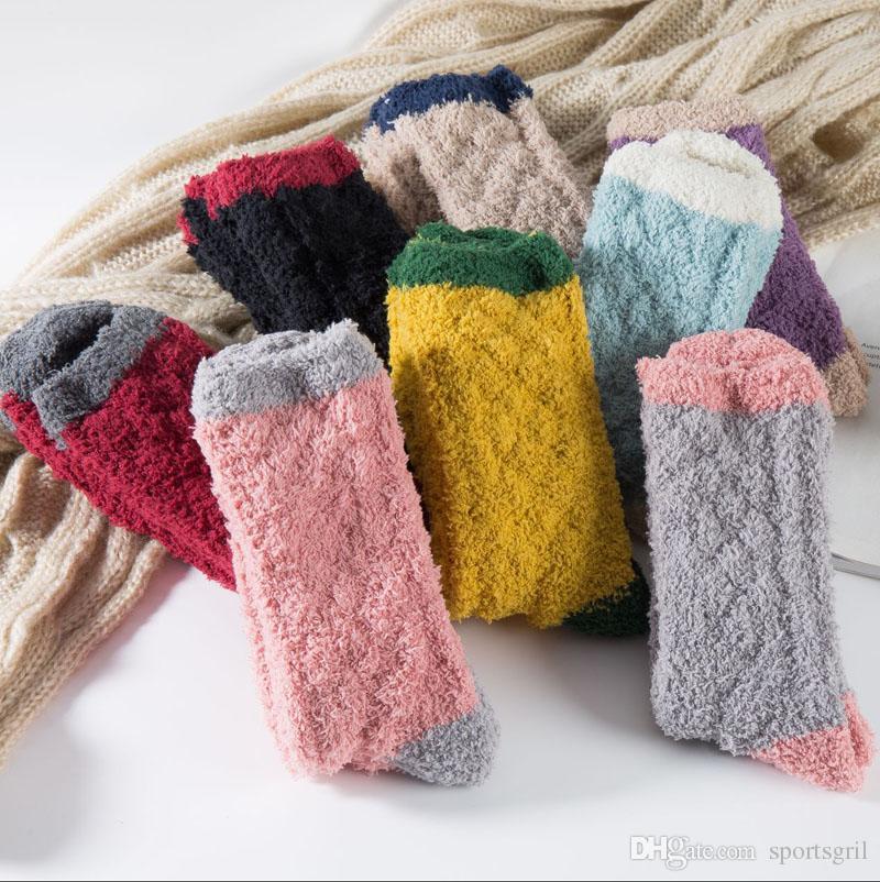 Momoleaf 2017 Najnowsze Dziewczyny Kobiety Panie Zimowe Ciepłe Fuzzy Skarpety Kryty Home Grube Ręczniki Puszyste Skarpety Podłogowe Skarpety Thermal Sleeping Socks