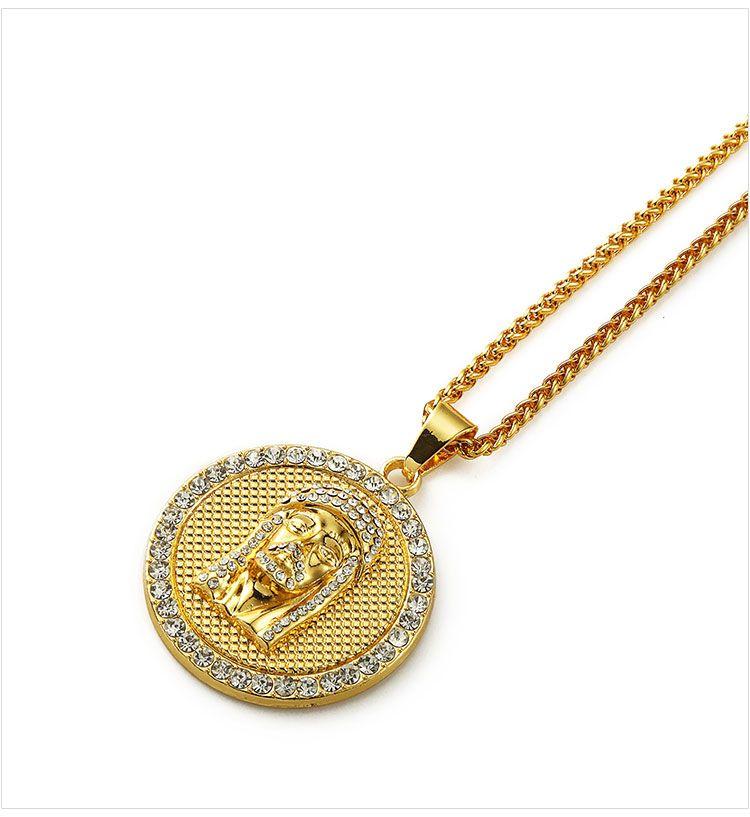 04 hip hop jesus round shape pendant necklace