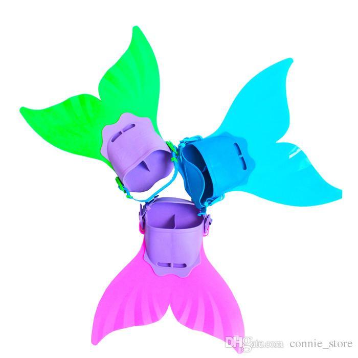 Adjustable Mermaid Swim Fin Diving Monofin Swimming Foot Flipper Mono Fin Fish Tail Swim Training For Kid Children Christmas Gifts JC125