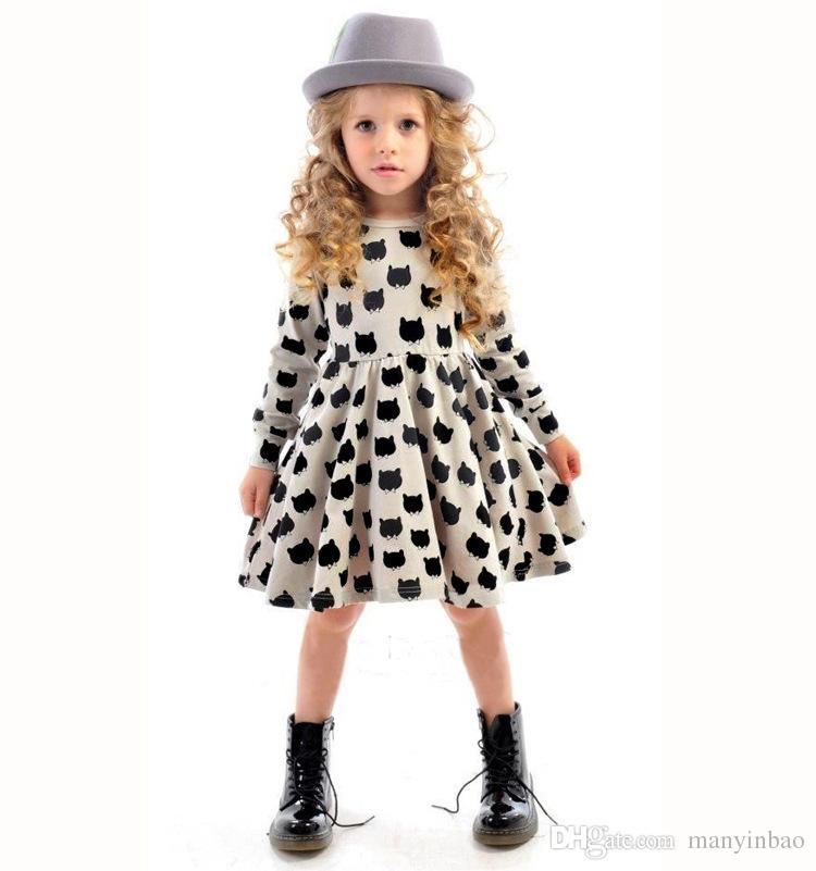 2021 новое платье для девочки с хлопчатобумажной черной кошкой шаблон печать эластичное крепкое платье для европейского и американского ребенка