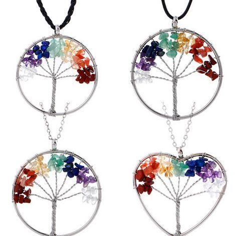 Arbeiten Sie neue natürliche gebrochene Steinlebensbaum Halsketten-Kristallbaum hängende Halsketten um
