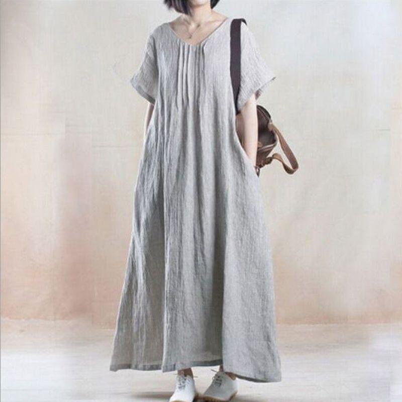New Women Summer Dress Art Linen Vintage Dress Maxi Dress Robe Vestidos Black Loose Causal Long Sundress Dresses