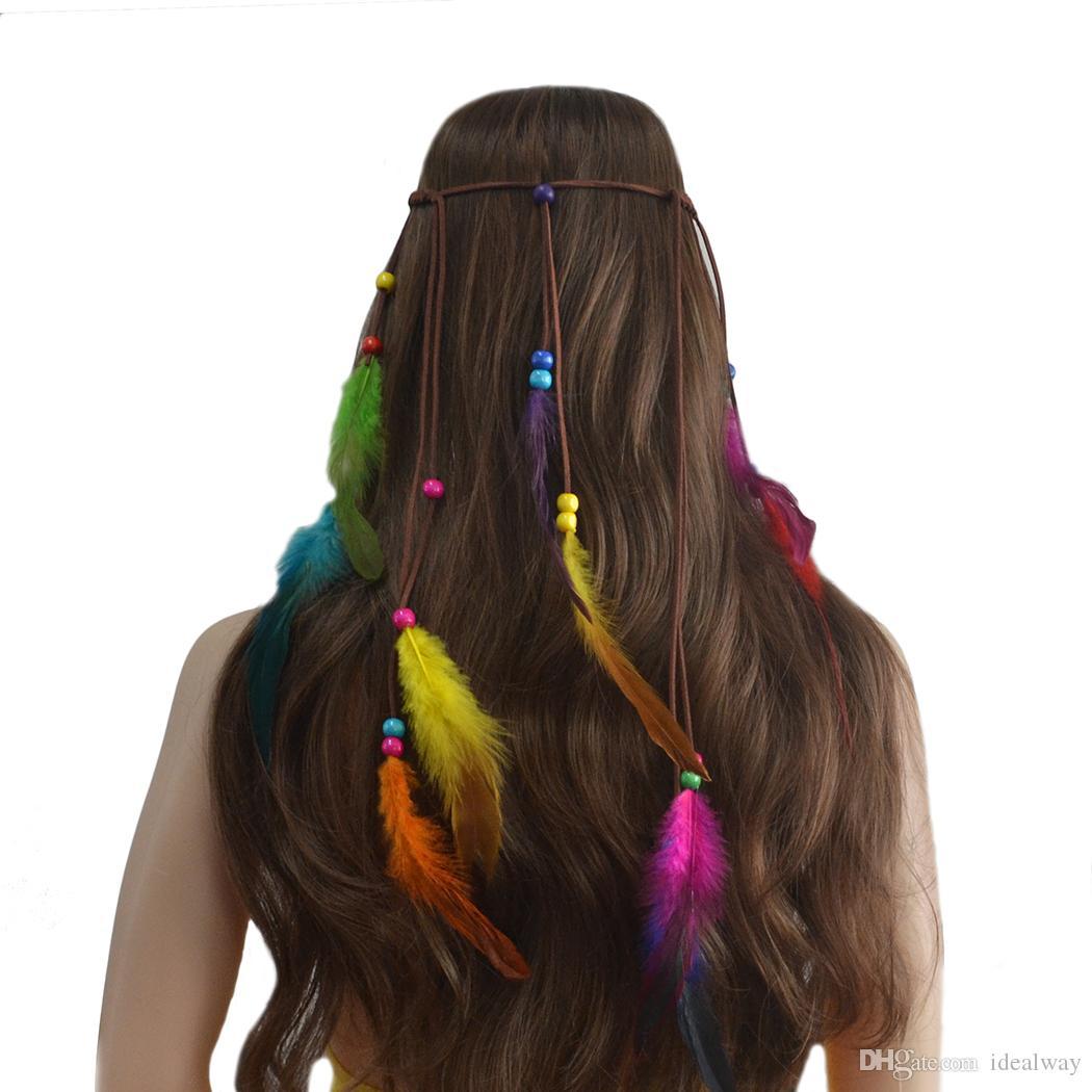 idealway جديد الأزياء اليدوية الخشب الخرز العرقية الغجر حبل الريشة hairbands النساء بوهو هيرباند الشعر التبعي