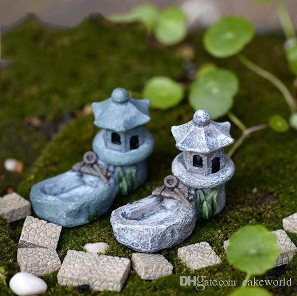 2pcs Vintage Mosque pond waterpot fairy garden miniatures bonsai ornament home jardim Micro Landscape decor resin crafts