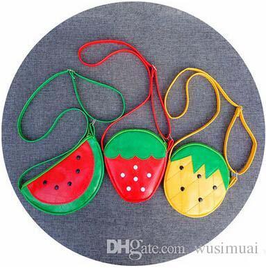 Children Shoulder Bags Cute Cartoon Fruit Cross Body Bags Fashion PU Bag Strawberry Pineapple Watermelon Kid's Coin Purse