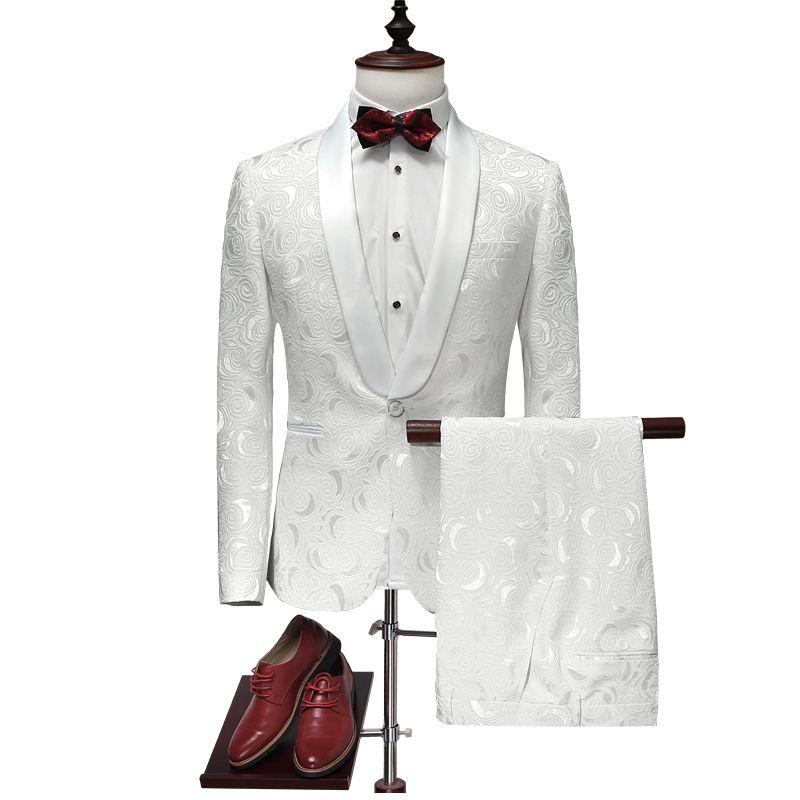 All'ingrosso ultimo cappotto Pant Design vestito degli uomini 2017 Abiti da sposa bianco smoking per gli uomini Slim Fit Mens stampato coreano Fashion Floral Q315
